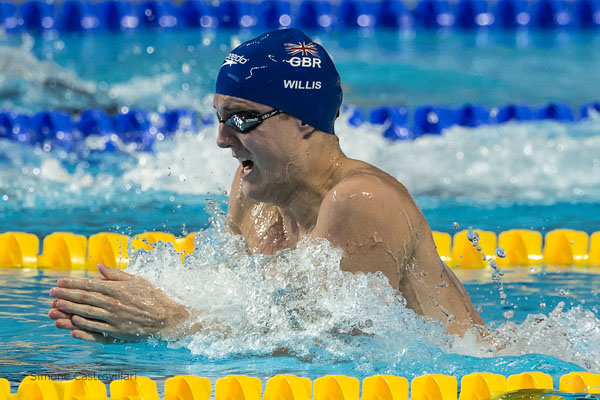 Andrew Willis - in the battle for the 200m breaststroke. pic Simone Castrovillari