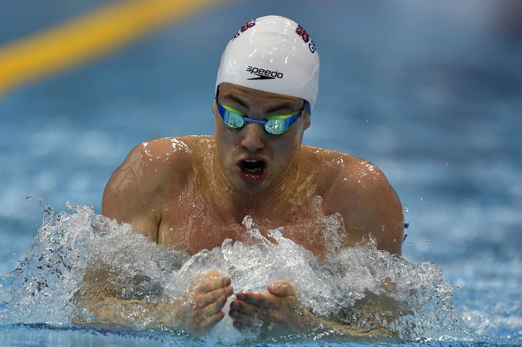 Craig Benson takes his Olympic bow in the 200m breaststroke. Pic: Simone Castrovillari