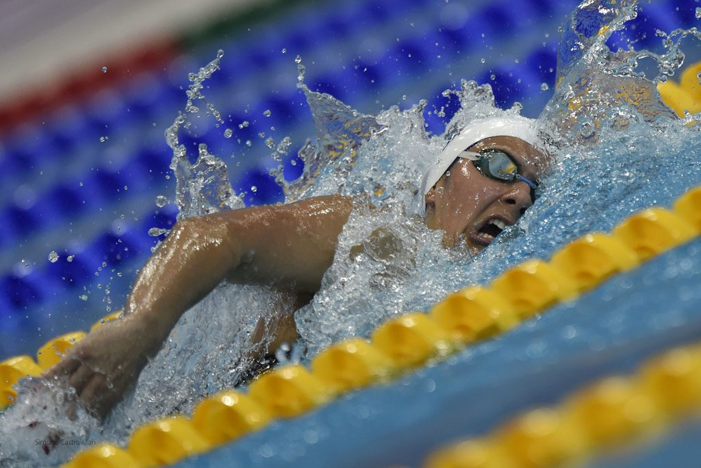 Aimee Willmott goes in the 400IM on day 1. Pic: Simone Castrovillari