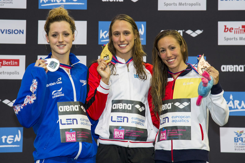 Molly (left) took silver at the European Championships in Berlin in 2014. Pic: LEN/Deepbluemedia